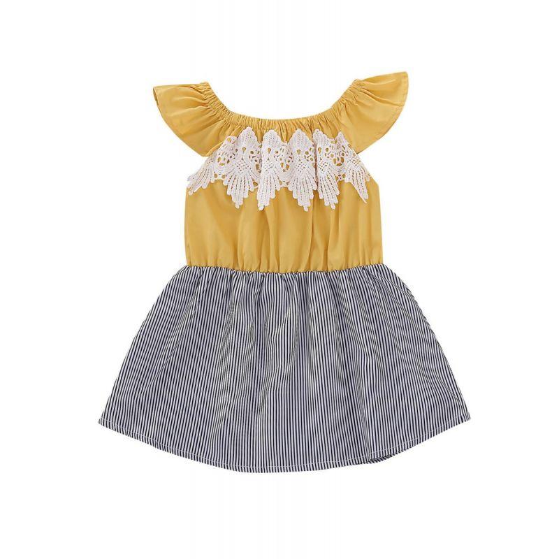 Off Shoulder Lacework Trimmed Striped Flutter Sleeve Dress Infant Girl Summer Casual One-piece Dress