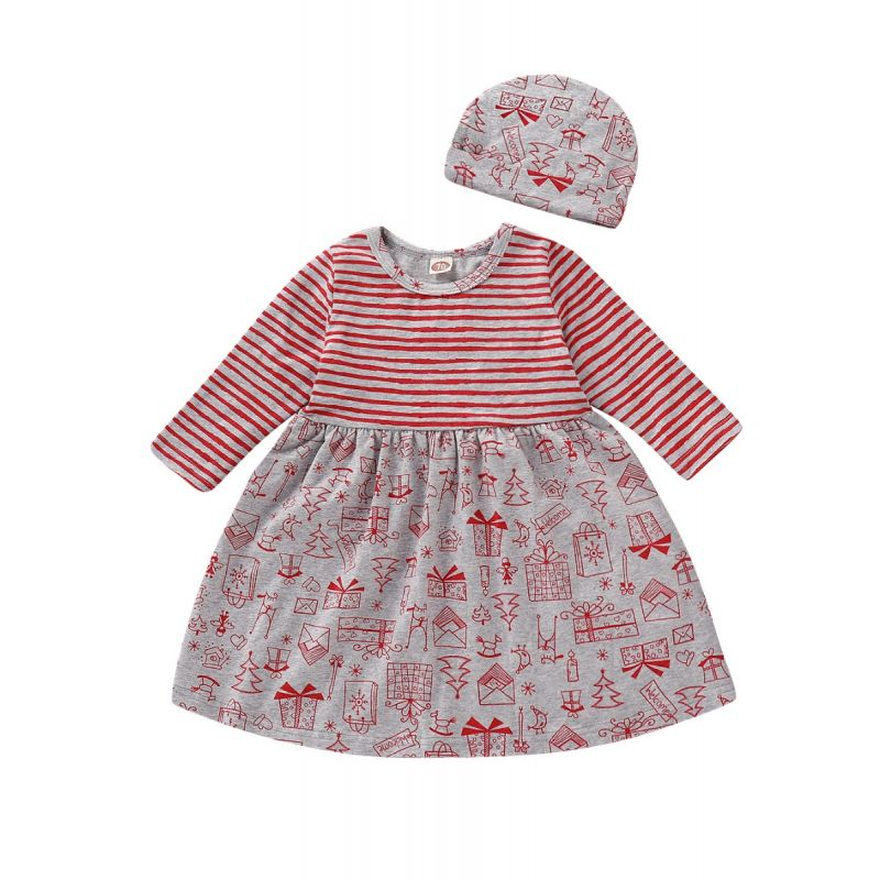 Christmas Element Striped Baby Dress with Hat