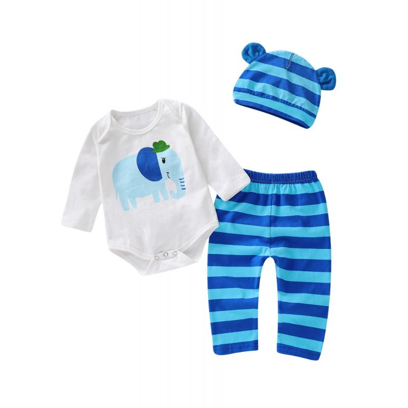 3-piece Infant Clothes Outfit Set Elephant Long Sleeve Romper Bodysuit+Striped Long Pants+Animal Ear Hat