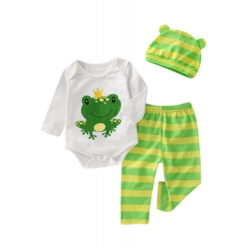 3-piece Baby  Clothing Outfit Set Frog Long Sleeve Romper Onesie+Striped Long Trousers+Animal Ear Hat