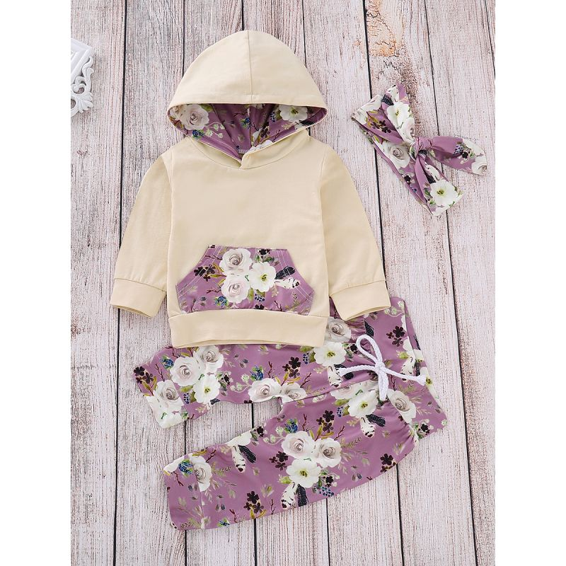 3-piece Baby Casual Clothes Set Hoodie Sweatshirt with Flower Kangaroo Pocket+Floral Long Pants+Headband