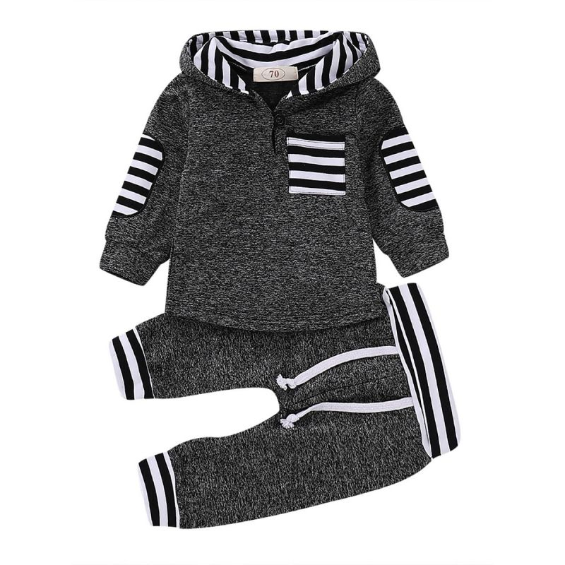 2-piece Baby Toddler Kids Casual Sportswear Clothes  Outfit Set Hoodie Sweatshirt Top  Patch Sleeve+Striped Long Pants