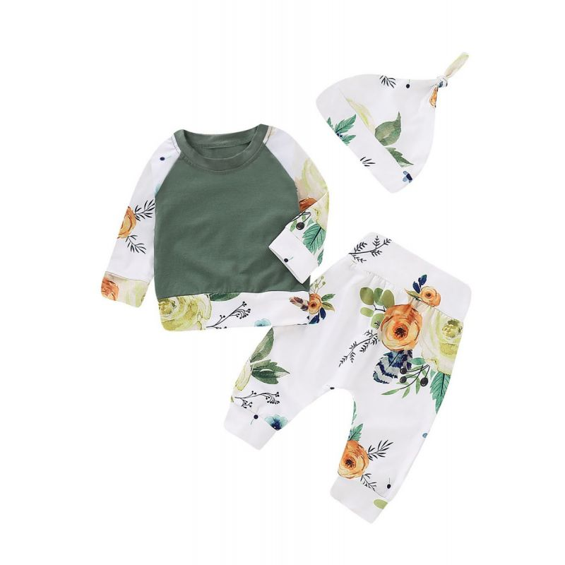 3-piece Baby Girl Spring Clothes Outfit Set Color Blocking T-shirt Pullover +Floral Pants+Hat