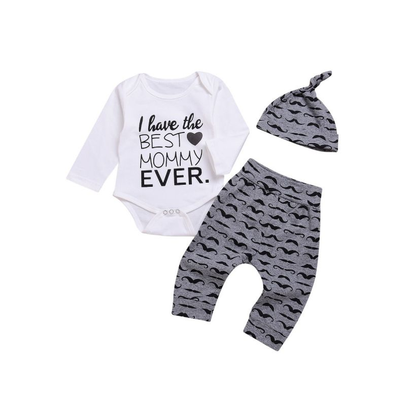 3-piece Baby Casual Clothes Outfit Set I Have The Best Mommy Ever Letters Print Romper+Cartoon Mustache Pants+Hat