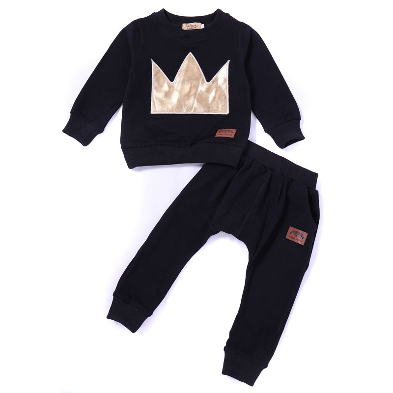 2-piece Spring Autumn Baby Casual Clothes Outfit Crown Jumper Sweatshirt+Long Pants