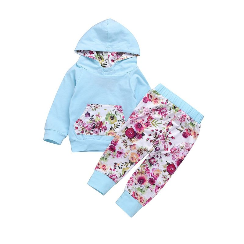 2-piece Infant Sports Casual Clothes Outfit Set Hoodie Sweatshirt with Flower Kangaroo Pocket+Floral Long Pants