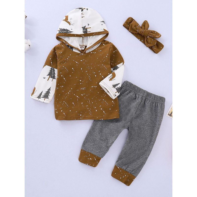 3-piece Baby Sports Casual Christmas Clothing Outfit Set Christmas Tree Reindeer Hoodie Sweatshirt +Color Blocking Long Pants+Headband