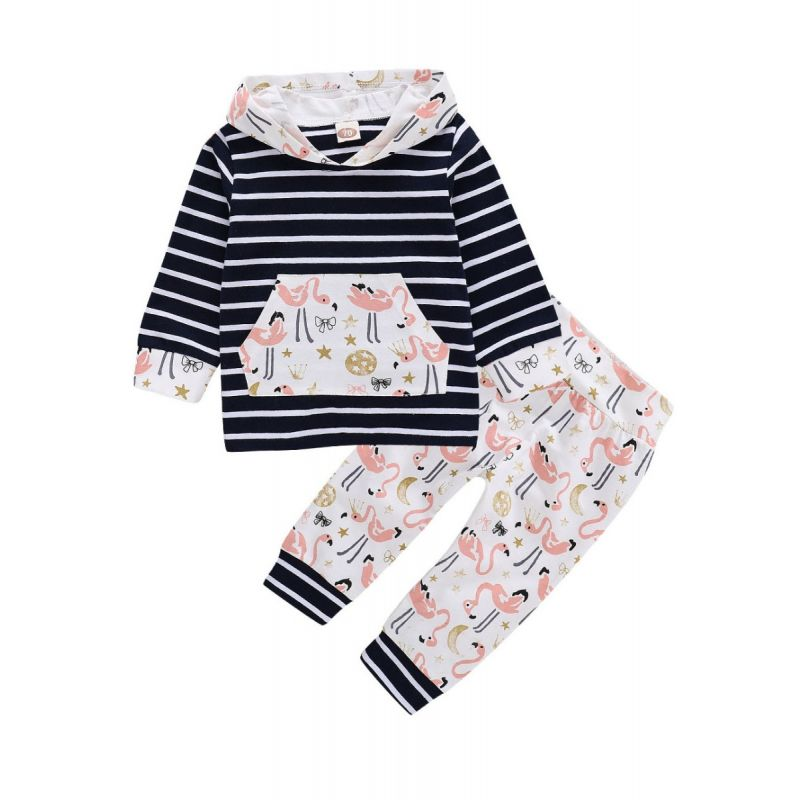2-piece Baby Girl Sports Casual Clothes Outfit Set Striped Hoodie Sweatshirt with  Kangaroo Pocket+Cartoon Grus Japonensis Long Pants