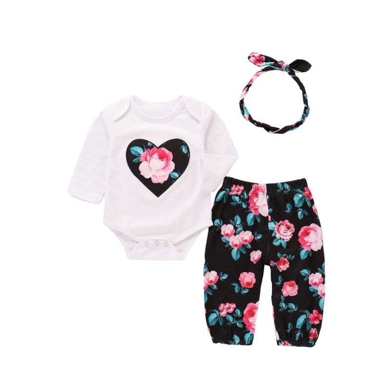 3-piece Infant Girl Casual Clothing Outfit Set+Long Heart Romper+Floral Long Trousers+Bow Headband