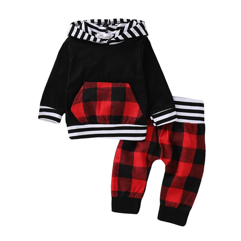 2-piece Baby Boys Girls Casual Clothing Outfit Set Striped Hoodie with Kangaroo Pocket+Checked Long Pants