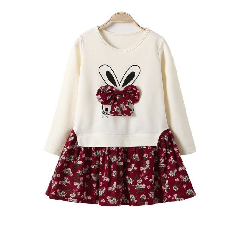 Toddler Big Girl Bunny Floral Bow One-Piece Casual Dress Long Sleeve Kids Spring Autumn Dress
