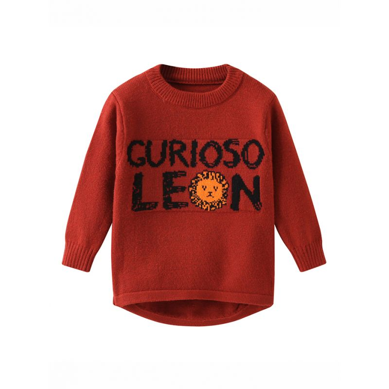 Cute Lion Letters Crochet Sweater Baby Toddler Kids Knitted Shirt Top