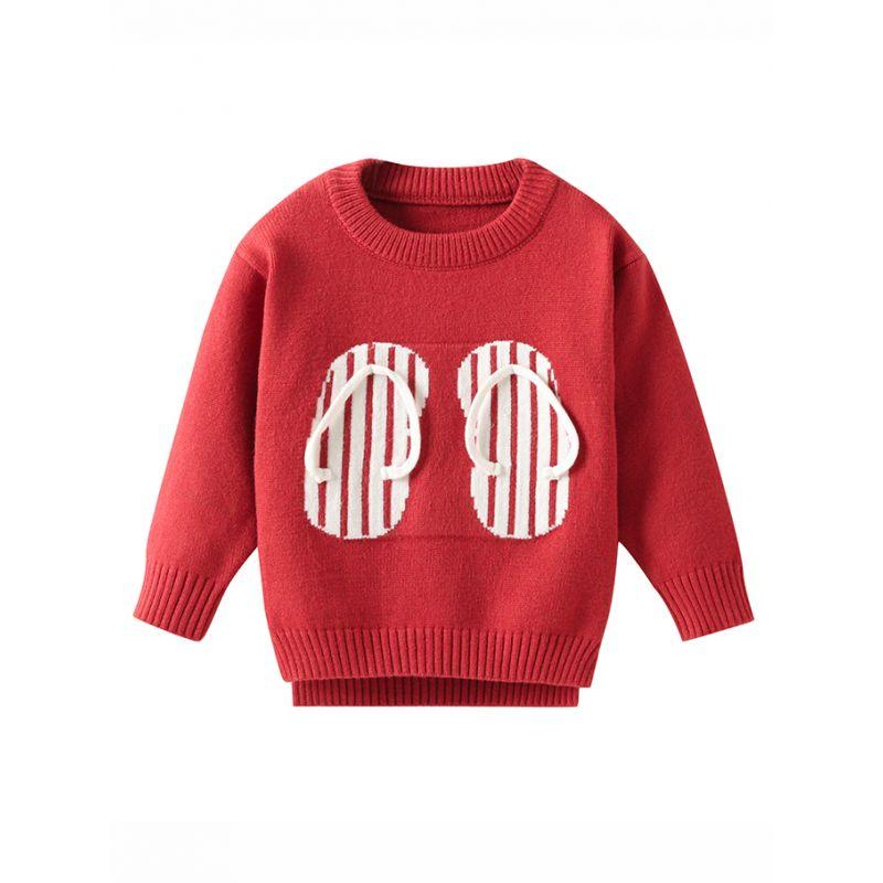 Classic Screw Collar Slipper Crochet Sweater Baby Toddler Boys Girls Knitwear Top
