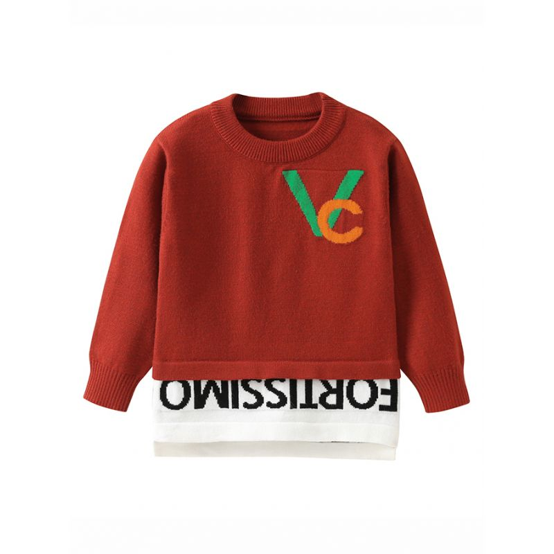 Fashion Letters Crochet Color-Blocking Patchwork Sweater Baby Toddler Kids Knitted Top