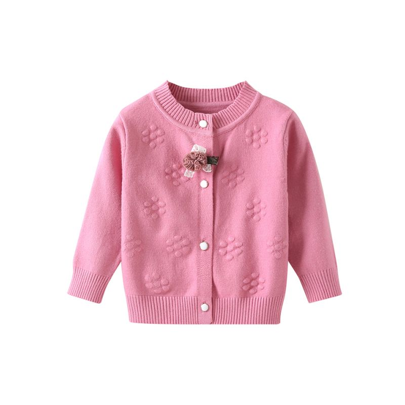 Baby Girl Pink Flower Crochet Cardigan Spanish Style Baby Toddler Girl Knitted Clothes