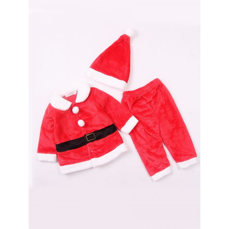 3-piece Baby Christmas Costume Outfit Set Red &White Santa Clause Jacket Coat+Long Pants+Christmas Hat