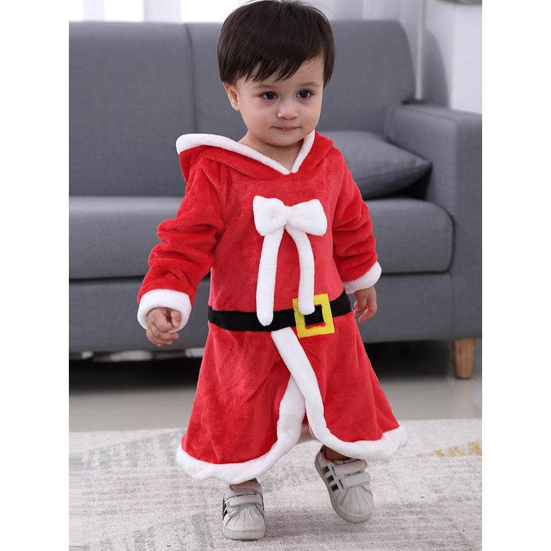 Cute Hoodie Bow Baby Girl Christmas Dress Xmas Costume