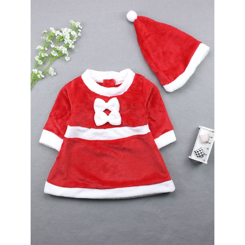 Baby Girl Red & White Xmas Dress Costume with Christmas Hat
