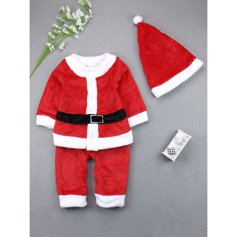 Santa Clause Style Baby Boy Romper Jumpsuit Costume with Christmas Hat