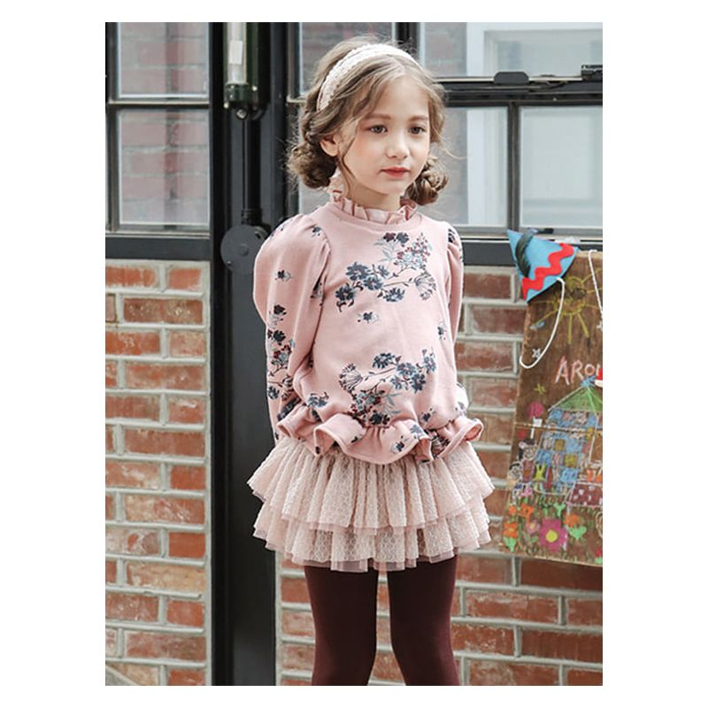 Toddler Kids Fleece-lined Ruffled Floral Shirt Top for Winter