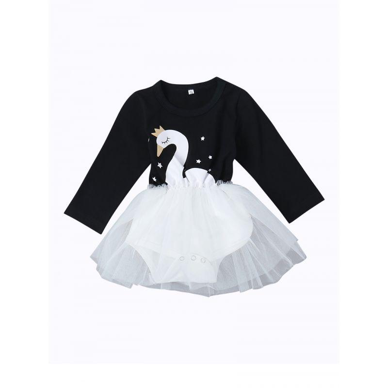 Swan Style Baby Girl Tulle Romper Skirt Long Sleeve