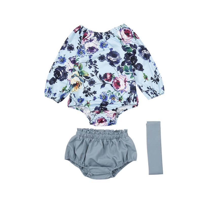 3-piece Baby Girl Romper Clothes Outfit Set Floral Romper Top+Bloomers Shorts+Headband