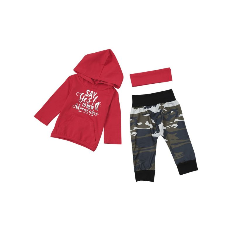 3-piece Baby Sports Clothes Outfit Set Letters Print Red Hoodie Sweatshirt with Kangaroo Pocket+Camouflage Long Pants+Red Headband