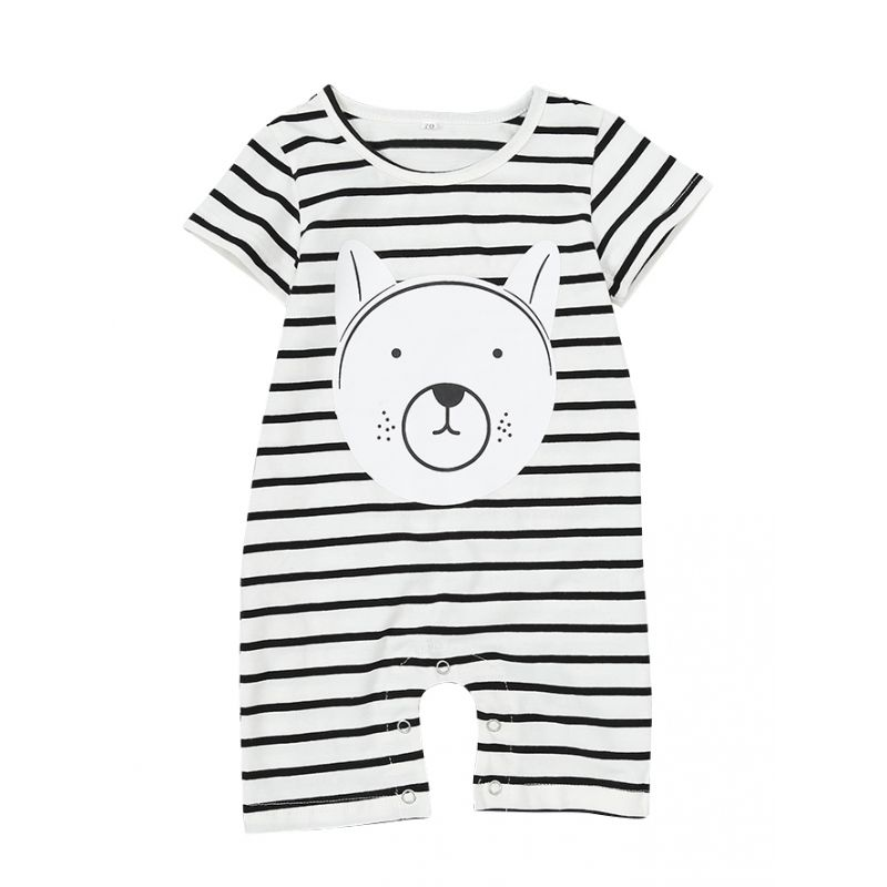 Cartoon Animal Striped Baby Boys Girls Romper Onesie Summer Playsuit