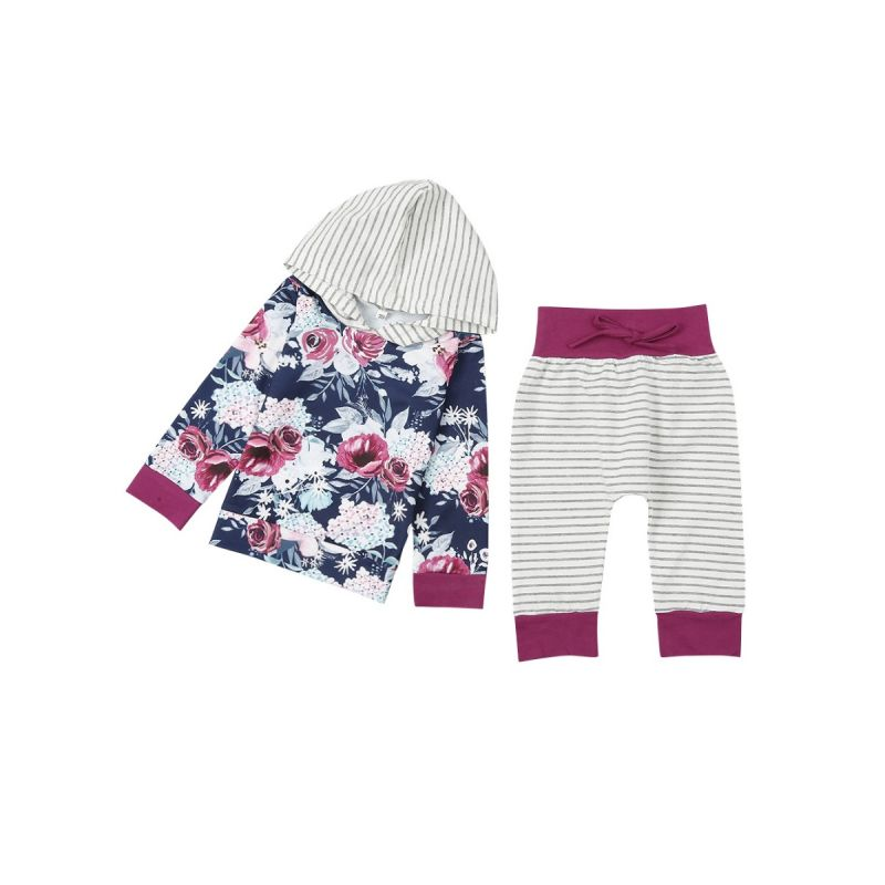 2-piece Baby Girl Casual Sports Clothing Outfit Set Floral Striped Hoodie Sweatshirt+Striped Long Pants
