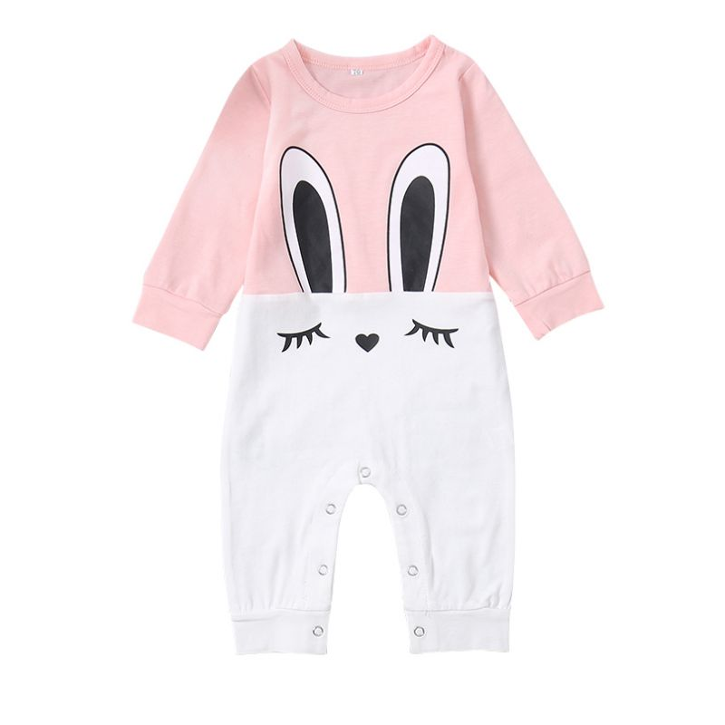 Color-blocking Bunny Baby Romper Jumpsuit Infant Playsuit