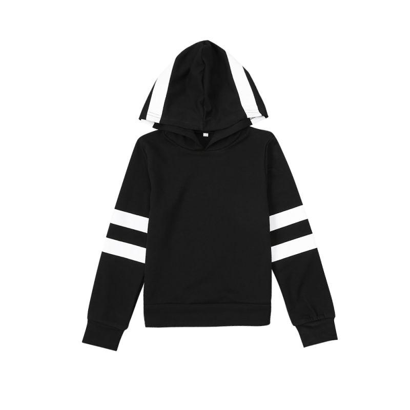 White and Black Hoody Jumper Kids Sweatshirt Sportswear