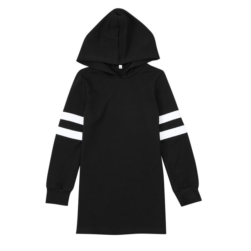 Junior Girl Long Hoodie Sweatshirt White & Black Jumper Sportswear