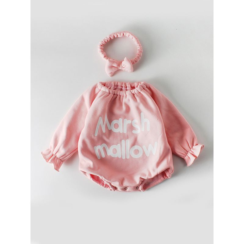 Marsh Mallow Letters Print Off Shoulder Fleece-lined Baby Girl Romper with Pink Bow Headband