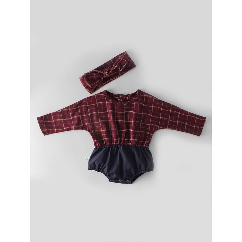 Checked Patchwork Baby Girl Romper with Bow Headband