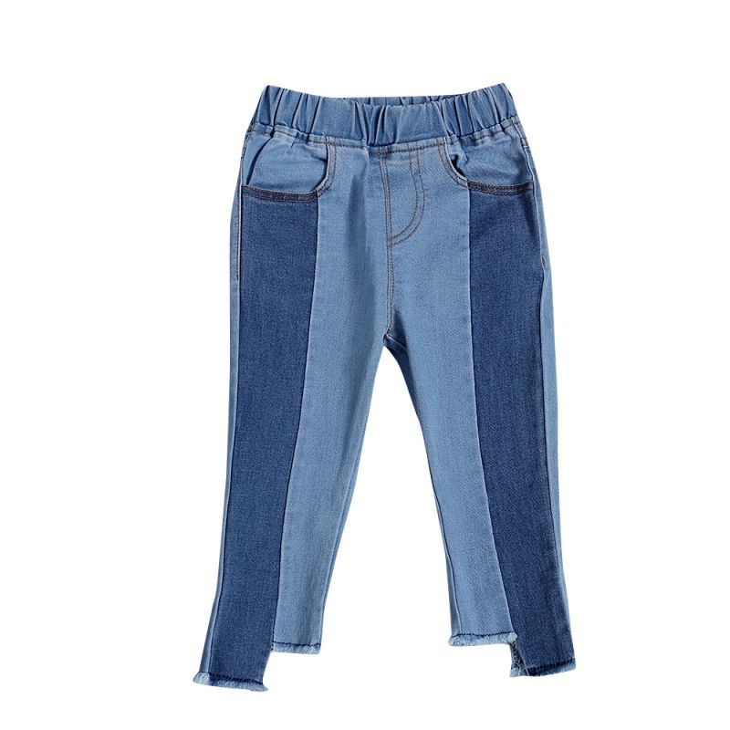 Fashion Color-blocking Asymmetrical Jeans Baby Toddler Girl Denim Trousers
