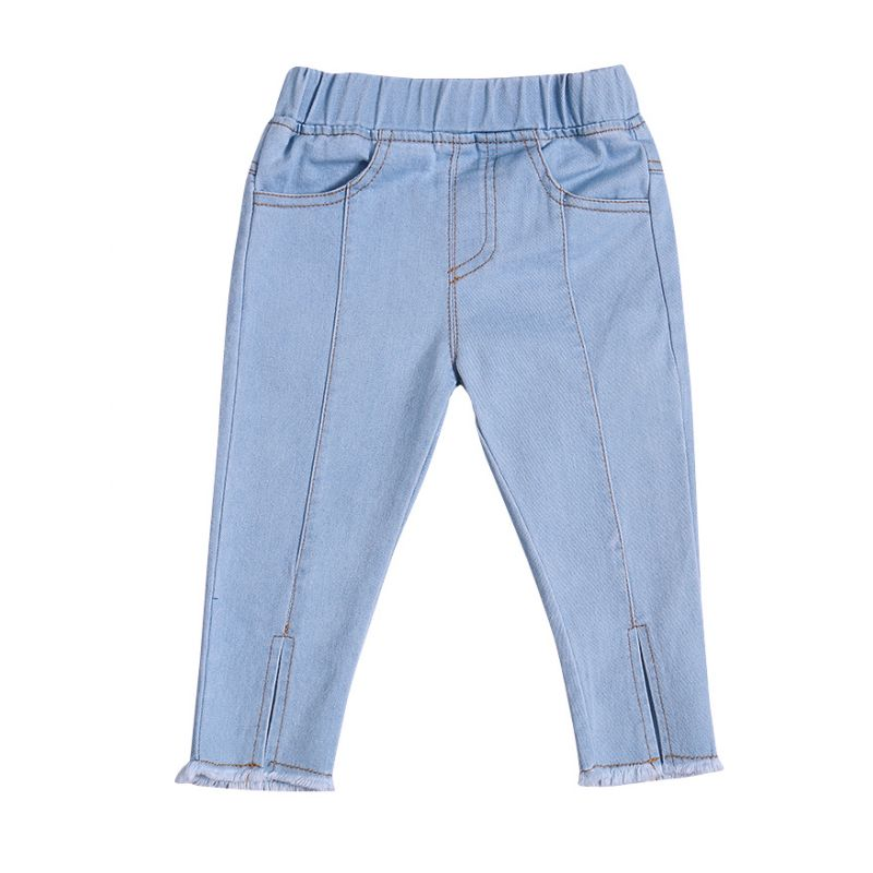 Fashion Baby Toddler Girl Fringe Hem Jeans Casual Denim Trousers