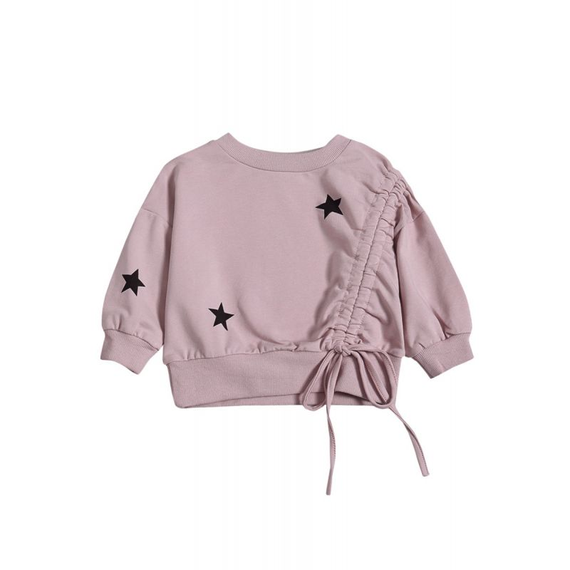 Fashion Baby Toddler Girl Star Lace-up T-shirt Pullover Top Pink Jumper