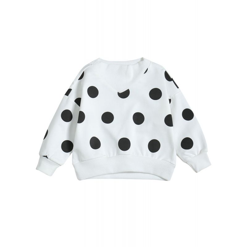 Polka Dots Jumper Sweatshirt Baby Toddler Girl Casual T-shirt Top for Spring Autumn