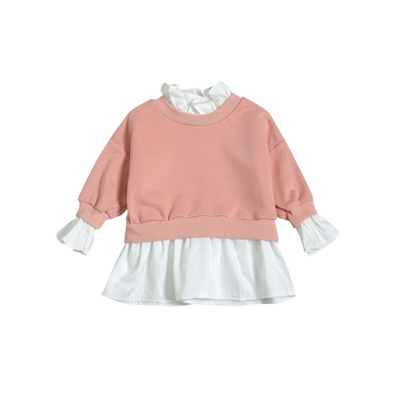 Fashion False Two Pieces Shirt Top Baby Toddler Girl Color Blocking Ruffled Blouse
