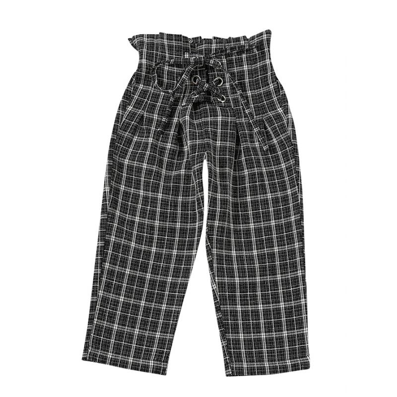 Stylish Ruffled Lace-up Checked Pants Infant Girls Kids Casual Trousers