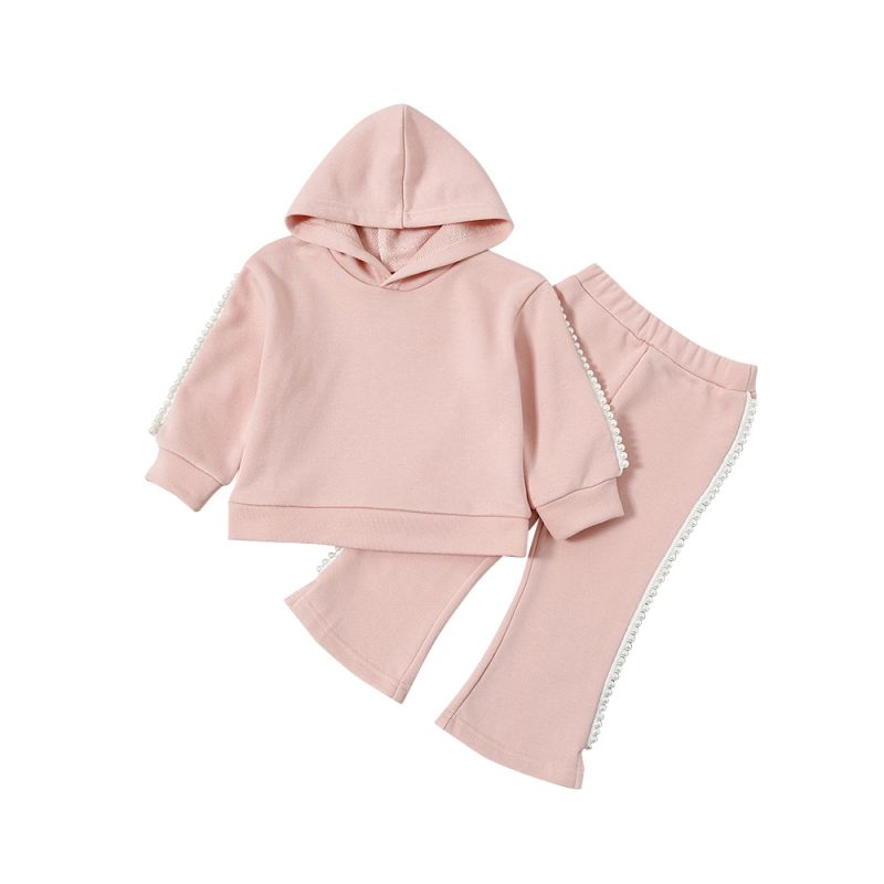 2-piece Stylish Pink Baby Toddler Girl Beaded Trimmed Casual Clothes Set Beaded Trimmed Hoodie+Flare Trousers
