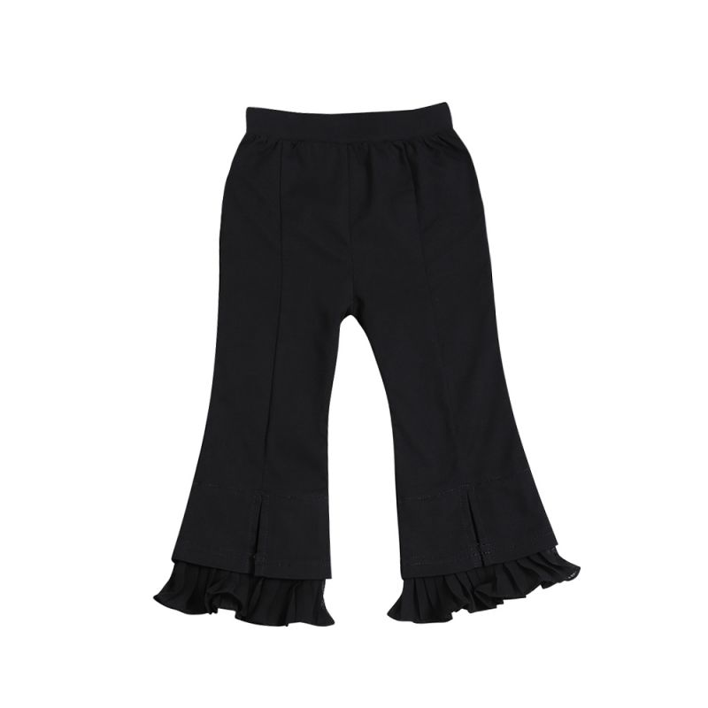 Fashion Black Ruffled Flared Pants Baby Toddler Girl Bell-bottoms