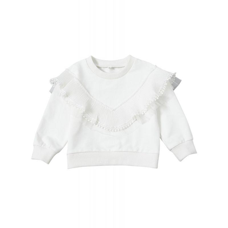 White Tassels Trimmed Screw Collar Jumper Infant Toddler Girl Pullover Top