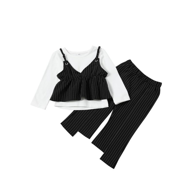 2-piece Baby Toddler Girl Children Casual Clothing Outfit Set False Two Pieces Ruffled Sundress Like T-shirt Top+Vertical Striped Asymmetrical Pants