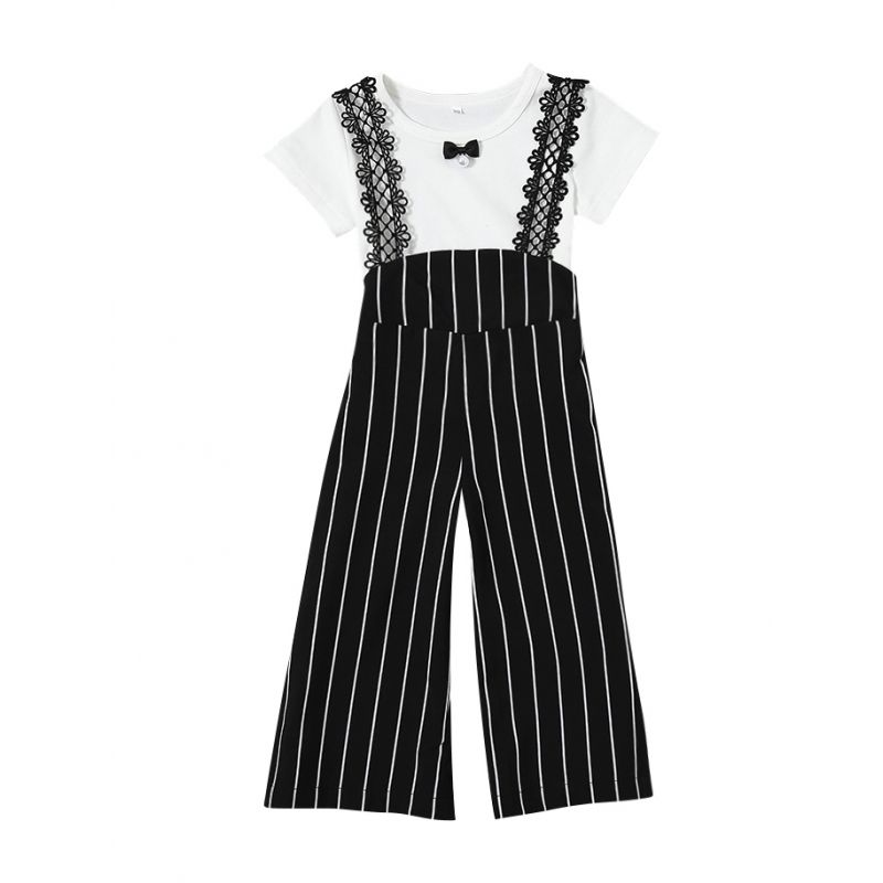2-piece Baby Kids Summer Clothes Outfit Set Little Black Bow Trimmed White T-shirt Short Sleeve+Striped Floral Lace Pierced Loose Pants