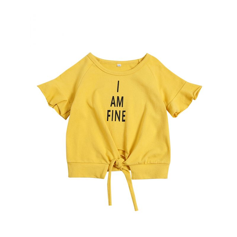 Fashion I AM FINE Lace-up Flared Short Sleeve Yellow Shirt Baby Toddler Girl Summer Top