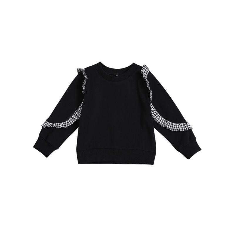 Black & White Checked Ruffled Baby Girls Kids Jumper Children Sweatshirt