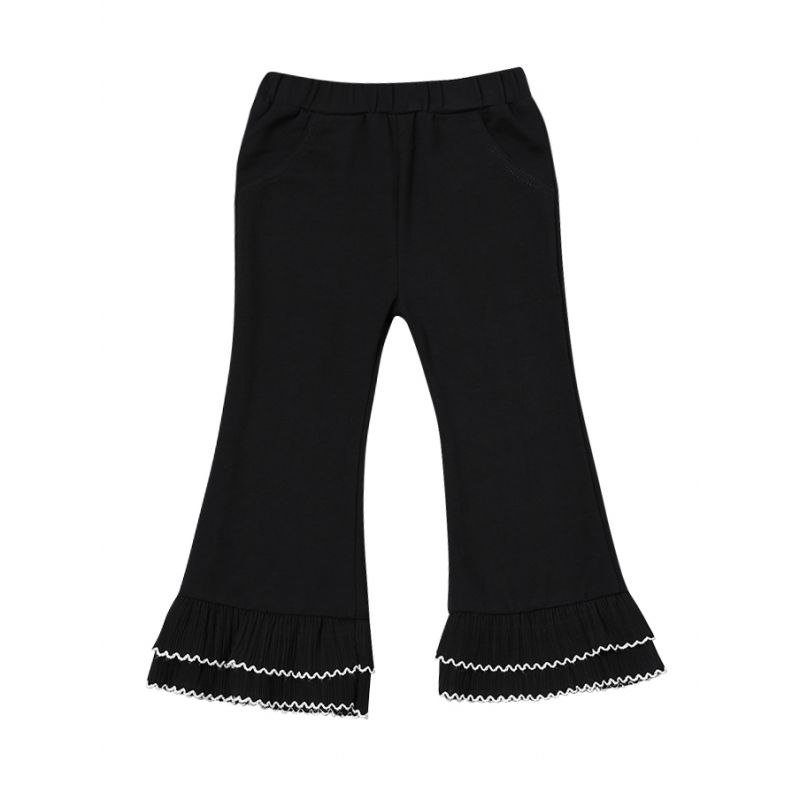 Stylish Black Ruffled Flared Pants Infant Toddler Girl Casual Bell-bottoms