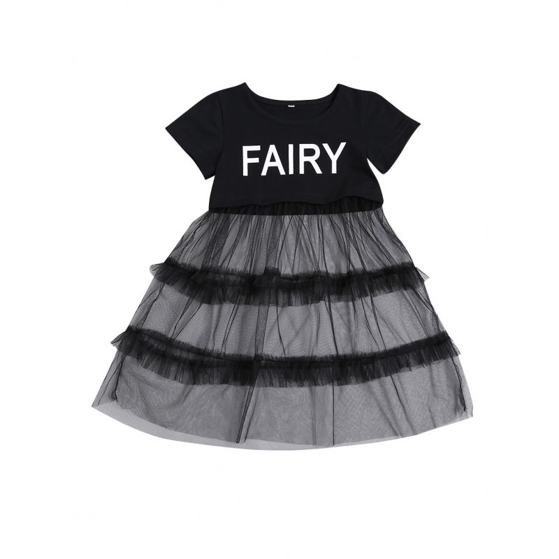 FAIRY Baby Toddler Girl Ruffled Tulle  Black Summer Dress