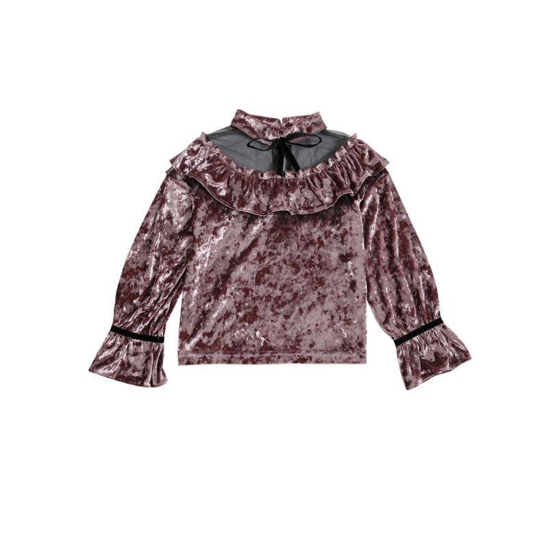 Juniors Girl Ruffled Mesh Flare Sleeve Blouse Shirt Top for Spring Autumn